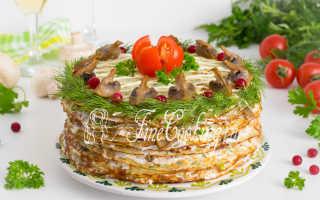 Рецепт Блинный пирог с курицей и грибами: как приготовить, фото